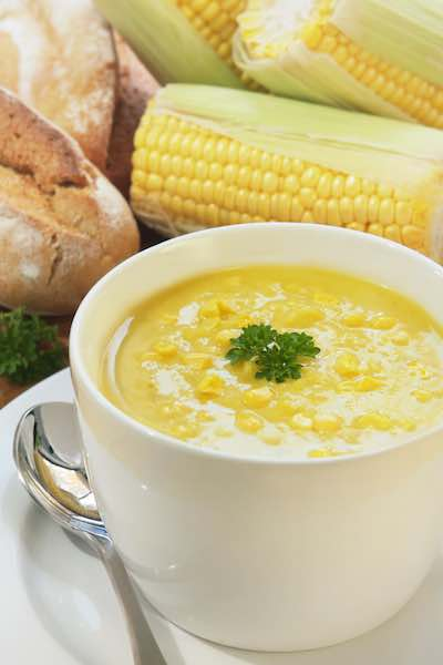 Sweet Corn Soup from Romancing the Stove by Amy Reiley