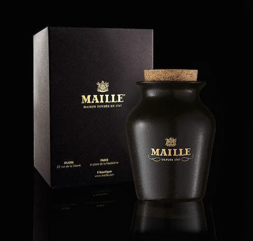 Maille Chablis and Black Truffle Mustard bottle with package box in the background