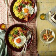 Savory Porridge with Turmeric, Kimchi and a Fried Egg