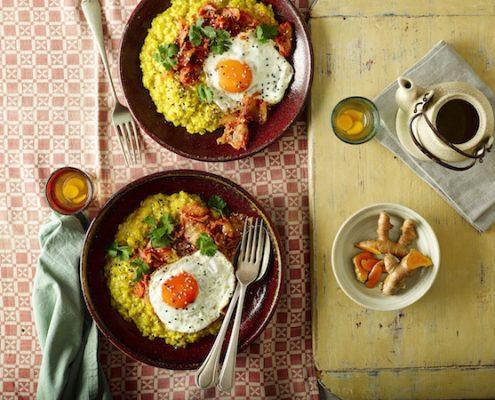 steel cut oats for dinner--Turmeric Porridge with Kimchi