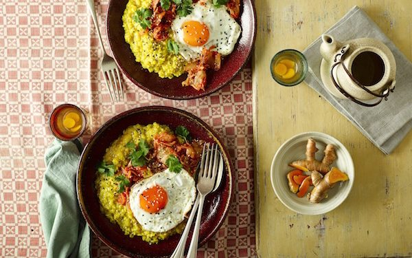Turmeric Porridge with Kimchi and a Fried Egg