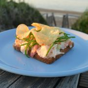 closeup of lobster and potato chip open faced sandwich on a pale blue plate overlooking the beach