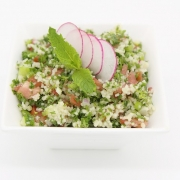 Minted Bulghar Salad in a White, Square Dish