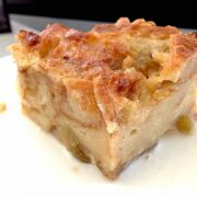 Chrysta Wilson's Chevre Apple Bread Pudding with Champagne