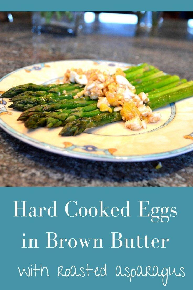 Hard Cooked Eggs in Brown Butter Pinnable Image