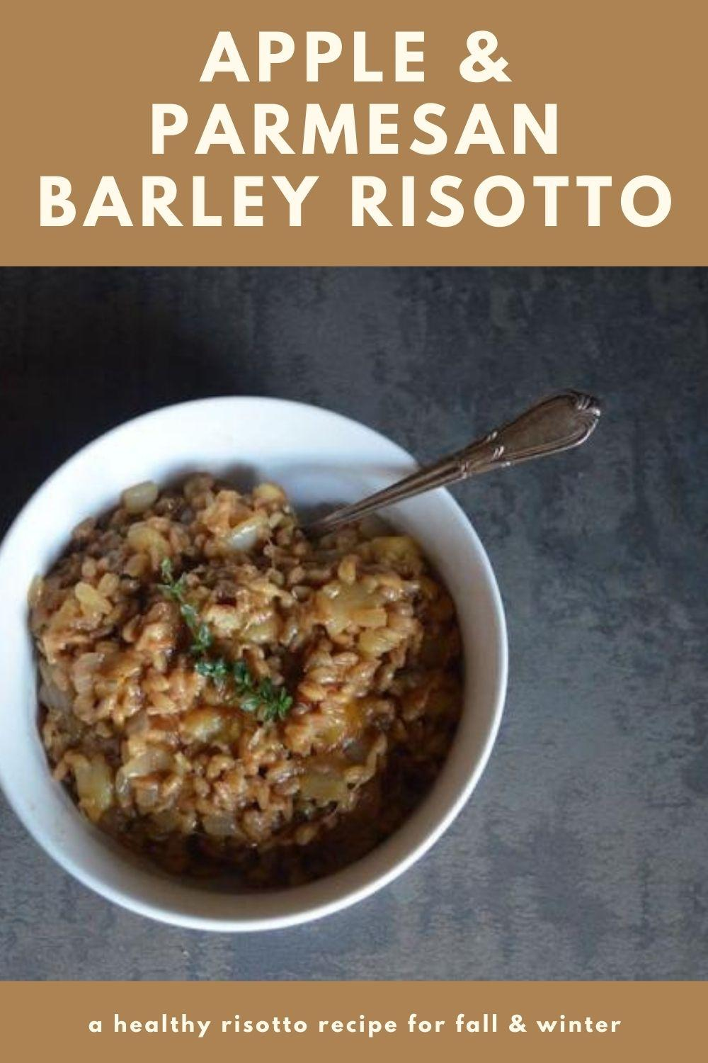 apple & parmesan barley risotto recipe graphic