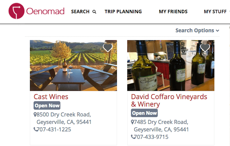 Screenshot of how Oenomad helps you plan the perfect wine country vacation