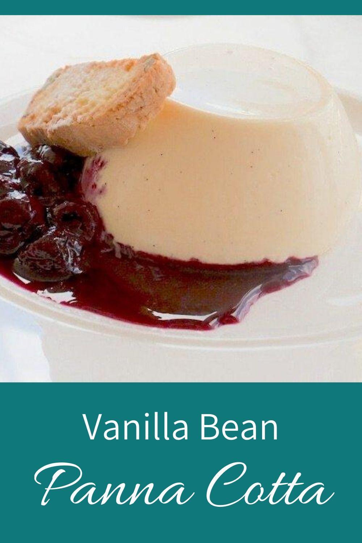 vanilla bean panna cotta pinnable graphic