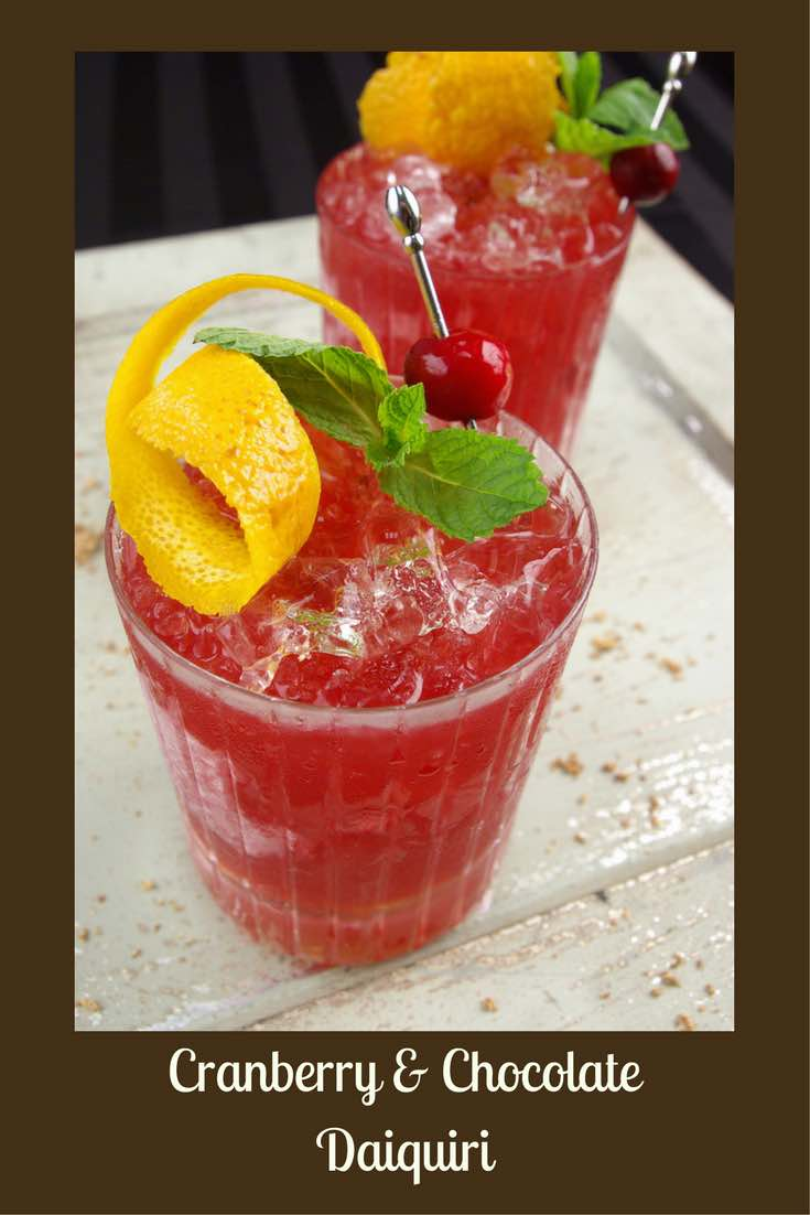 Cranberry & Chocolate Daiquiri made with cranberry puree and chocolate bitters