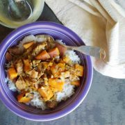 Warming Tomatillo and Pork Stew with Sweet Potato and Spices
