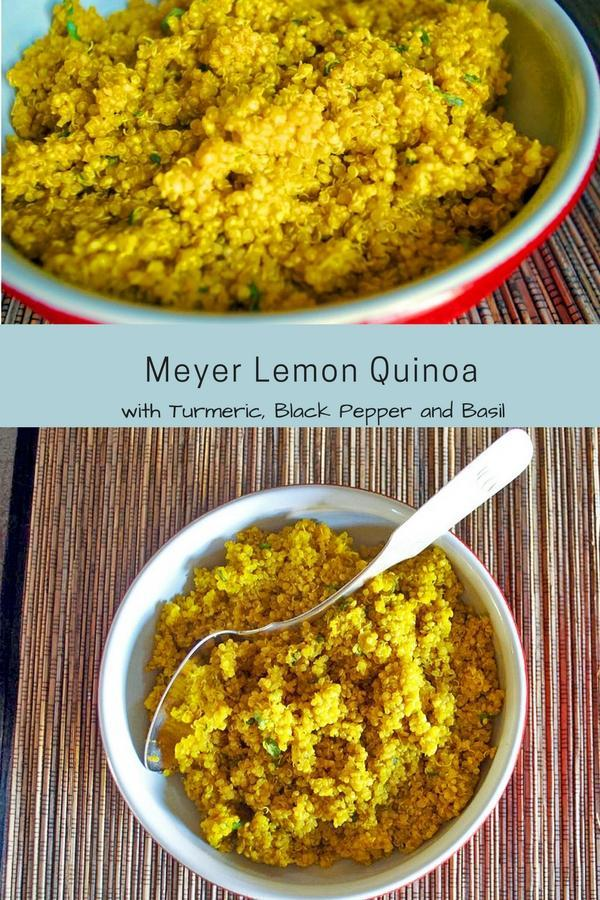 Meyer Lemon Quinoa with Turmeric, Black Pepper and Basil--a healthy and simple side dish