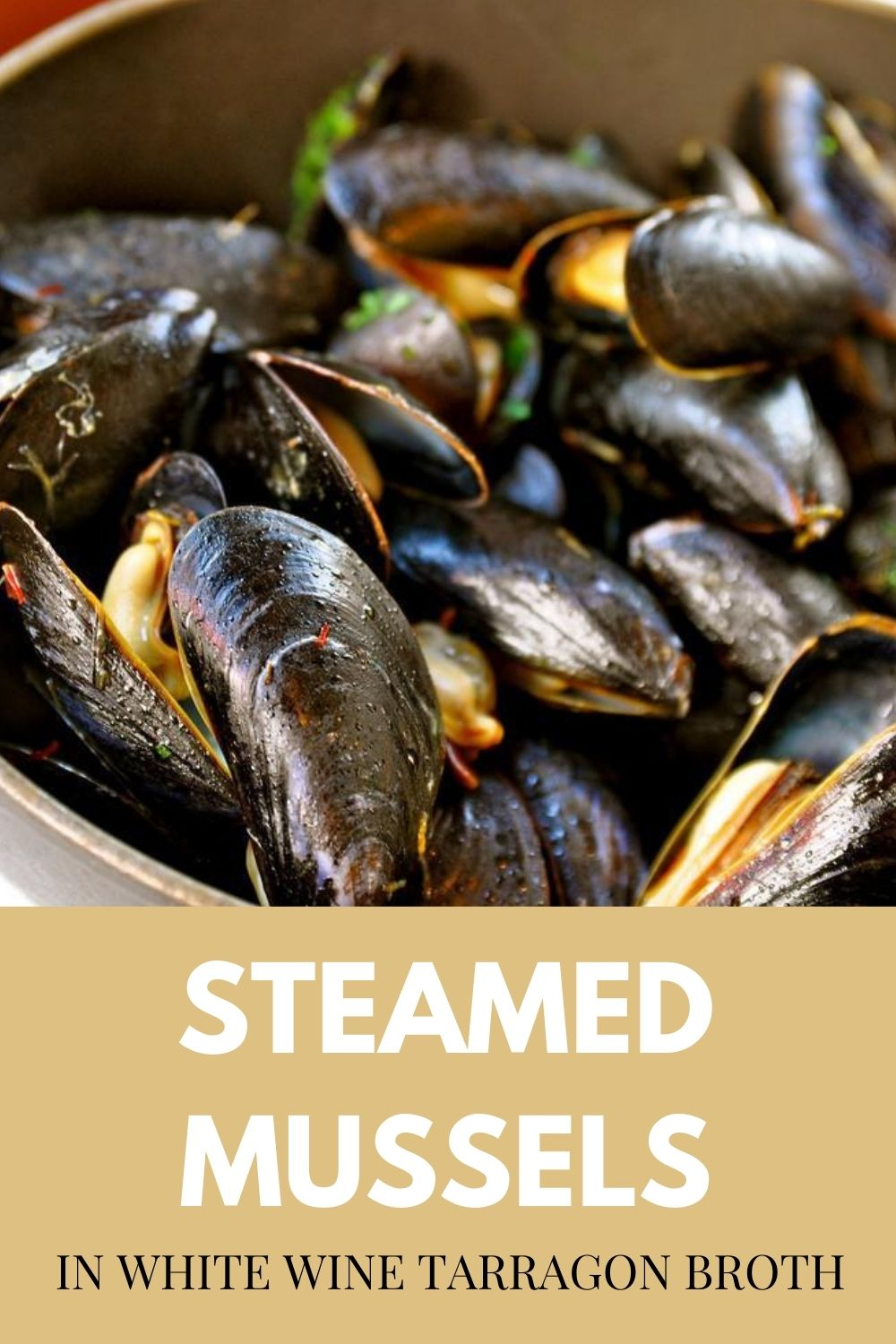 Steamed Mussels in White Wine Tarragon Broth Graphic