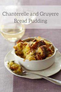 Chanterelle Mushroom and Gruyere Cheese Savory Bread Pudding