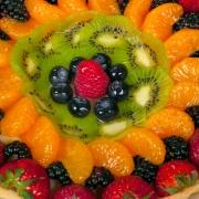 Closeup of classic fruit tart