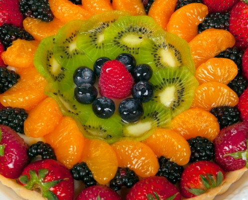 Closeup of classic fruit tart