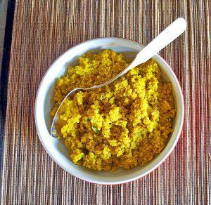Meyer Lemon Quinoa with Turmeric, Black Pepper and Basil