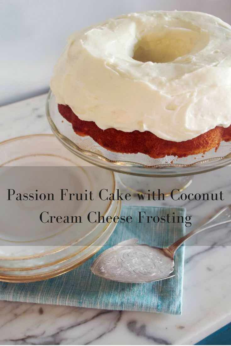 Passion Fruit Bundt Cake with Coconut Cream Cheese Frosting
