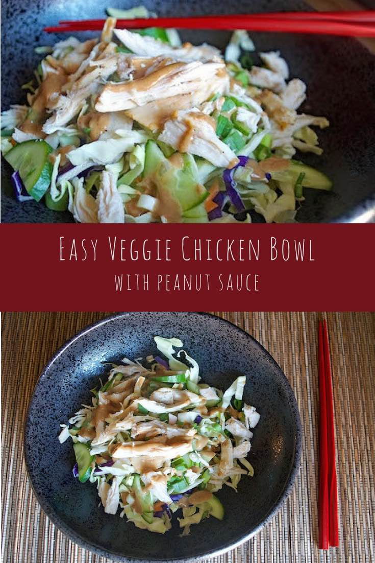 Easy Shredded Veggie Chicken Bowl with Peanut Sauce