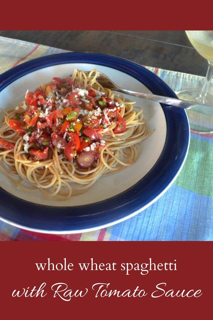 Whole Wheat Spaghetti with Raw Tomato Sauce 2