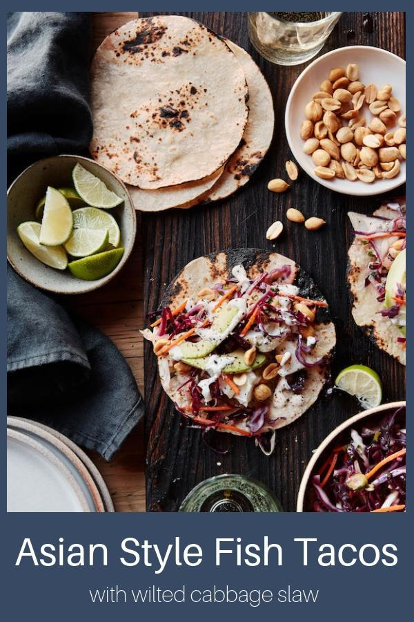 Asian Style Fish Tacos with Wilted Cabbage Slaw--A One Pan Meal
