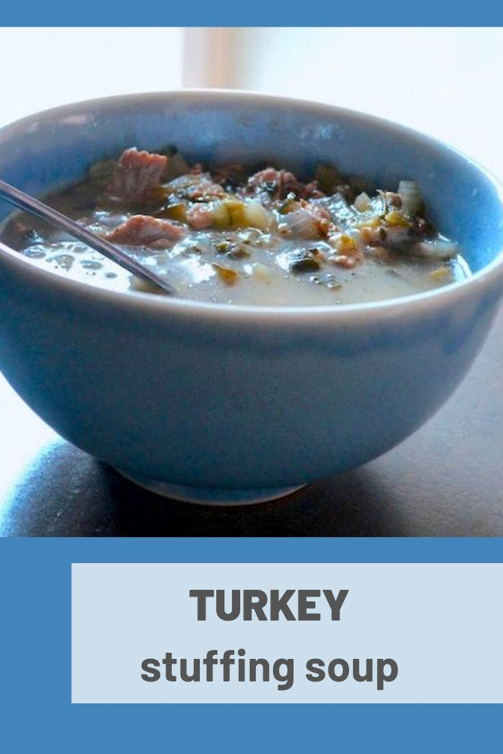 turkey stuffing soup pinnable graphic