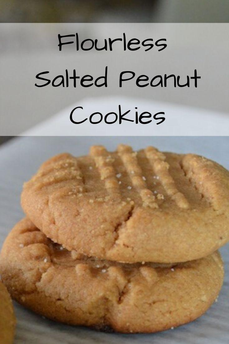 flourless salted peanut cookies pinnable graphic