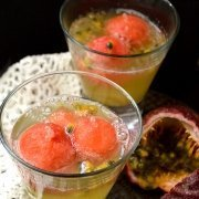 Sparkling Passion Fruit and Watermelon Tropical Cocktail