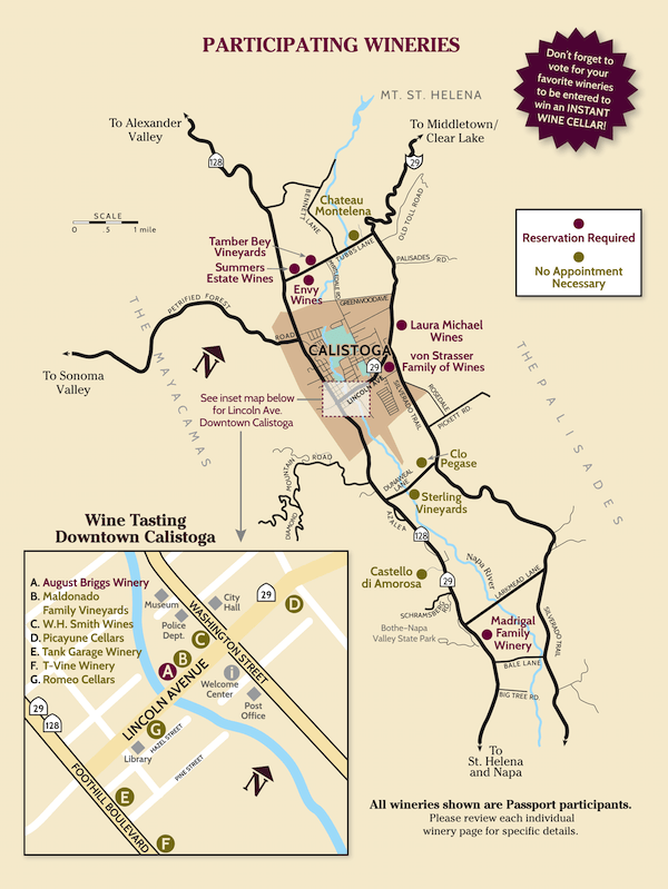 Winter Wine Passport Participating Winery Map