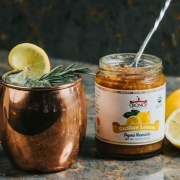 Moscow Mule in Copper Cup with Sicilian Marmalade Jar