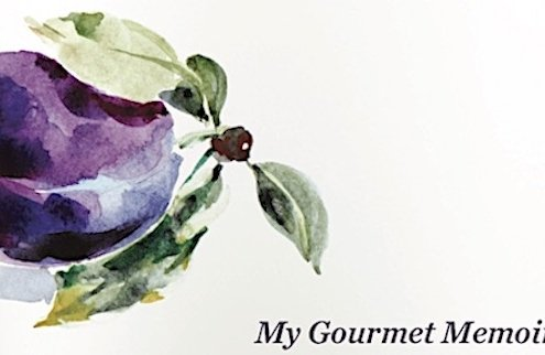 Closeup of watercolor plum from Save Me the Plums jacket