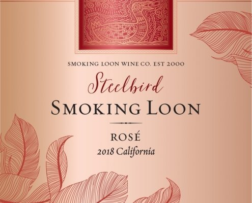Closeup of Smoking Loon Rosé Label