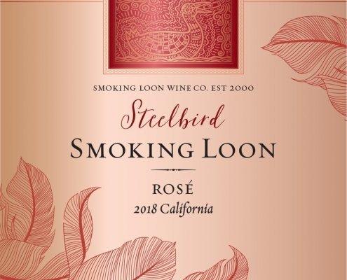 Closeup of Smoking Loon Rosé Label