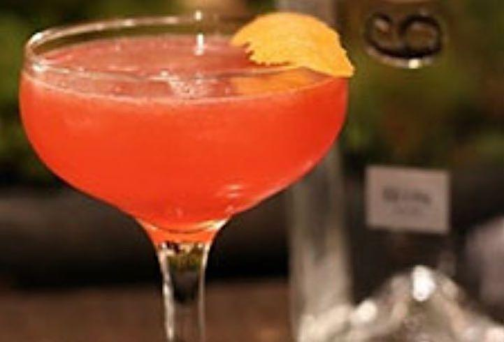 Closeup of Aperol cocktail with twist