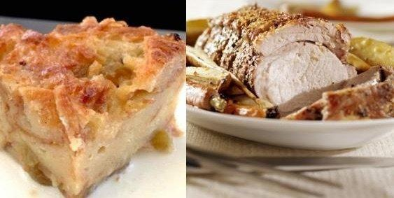 two of the top 5 recipes for fall, an apple bread pudding and a roasted pork loin on top of vegetables