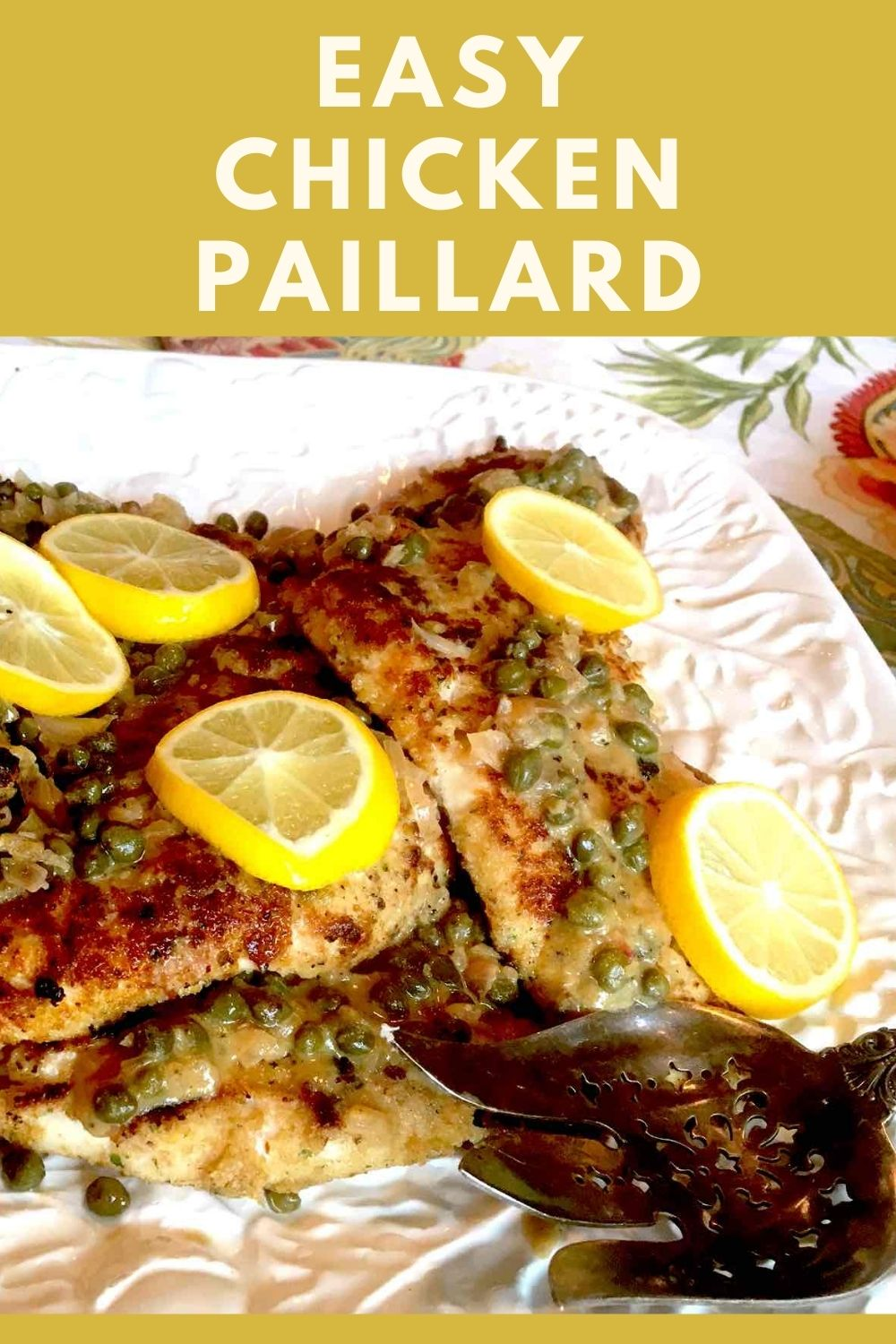 Easy Chicken Paillard recipe graphic
