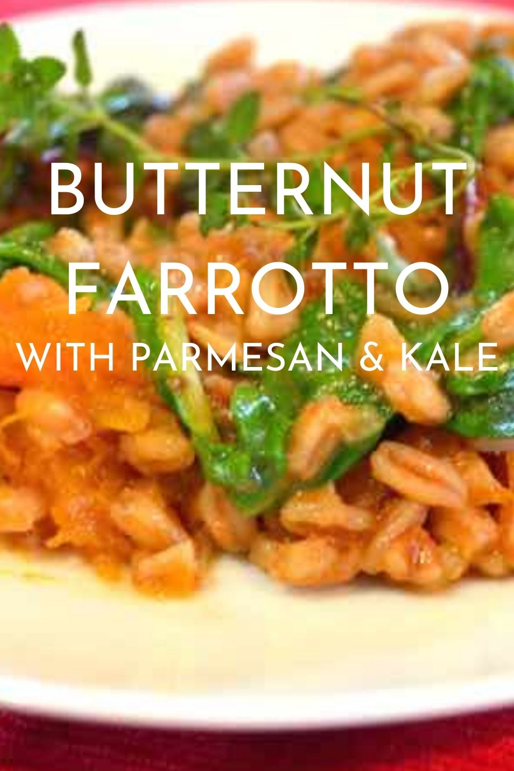 Butternut Farrotto with parmesan and kale graphic