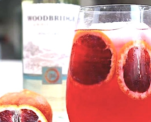 Blood Orange Pinot Grigio Fizz Closeup in a rocks glass