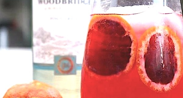 Blood Orange Pinot Grigio Fizz Closeup in a rocks glass