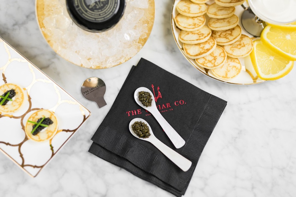 Caviar Mother's Day gift set displayed on a marble tabletop