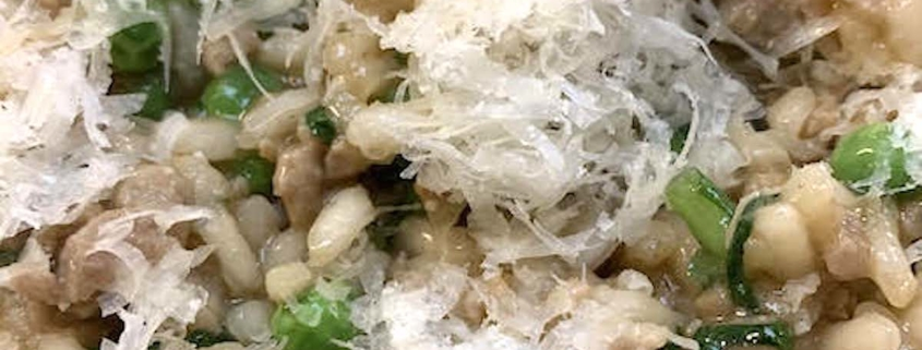 Closeup of Italian Sausage Risotto