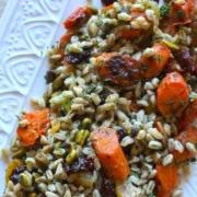 closeup of Mediterranean Farro Salad on a white platter