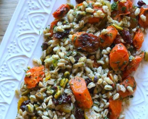 Healthy Farro Salad with Fruit and Fresh Herbs