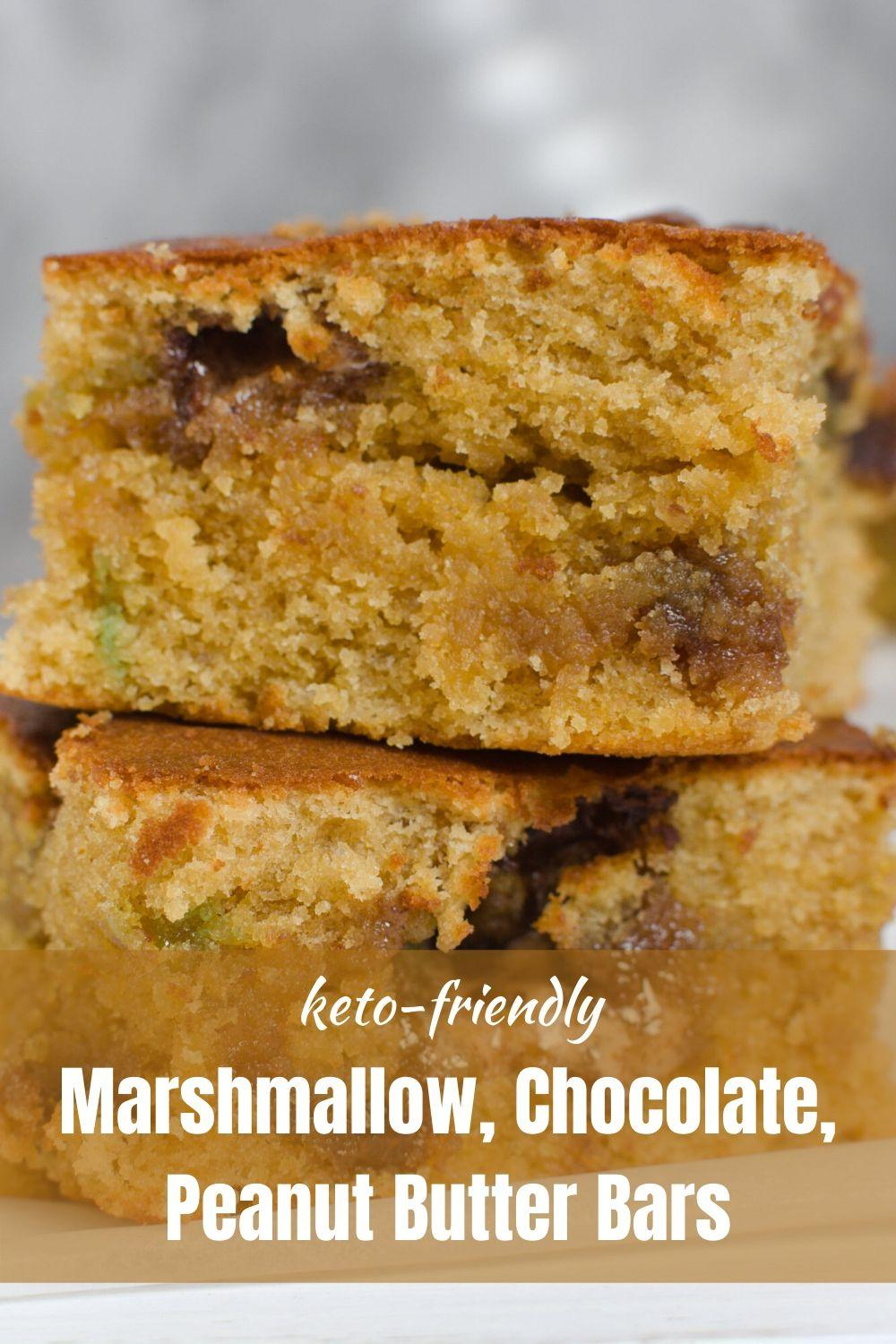 Marshmallow, Chocolate, Peanut Butter Bars pinnable graphic