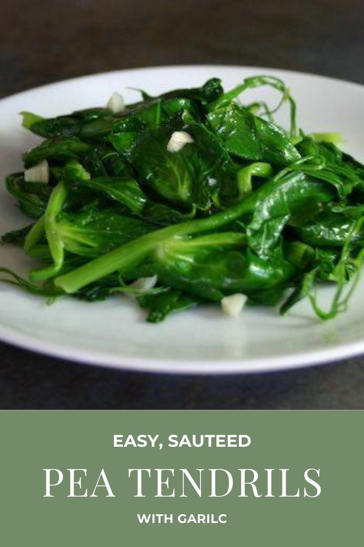 easy garlic pea tendrils recipe graphic
