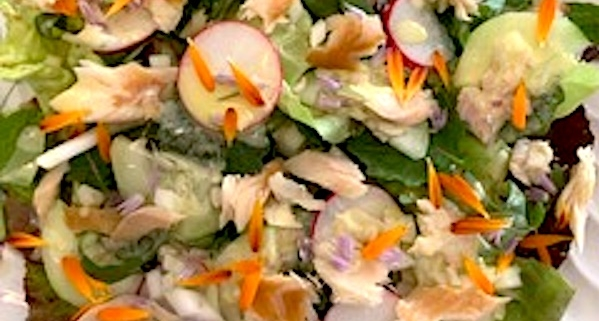 Spring Salad Recipe with Smoked Trout