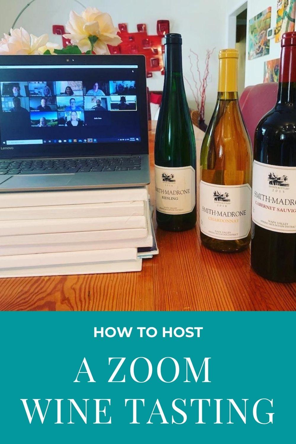 how to host a zoom wine tasting graphic