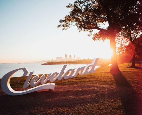 Cleveland sign at sunset