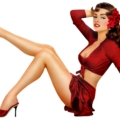 cartoon pinup girl in a red skirt with red high heels