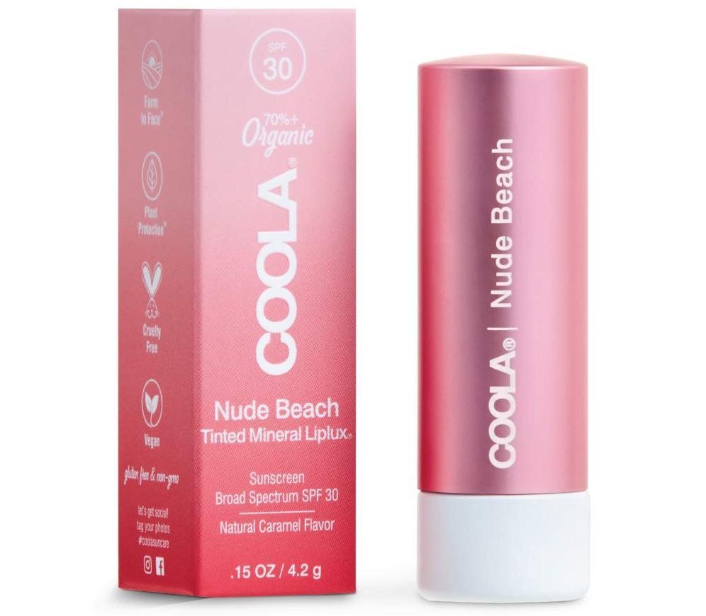 Coola Organic Tinted Lip Balm beside its box