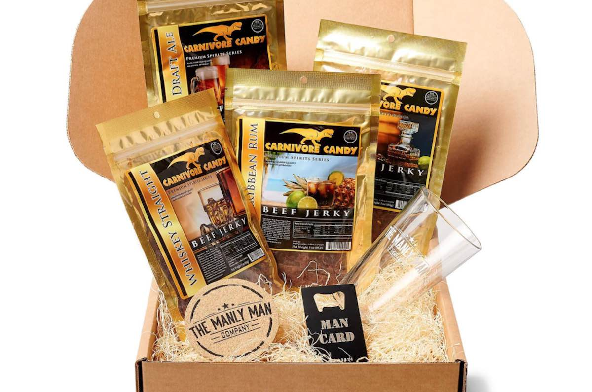 Manly Meat Jerky Gift Pack in a brown box